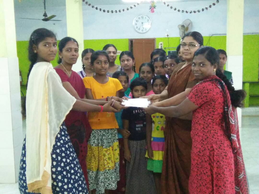 Educational Assistances provided to two poor helpless Girls at Marai Malai Nagar